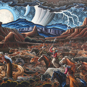 "Kim Wiggins' ""Stampede at Castle Gap"" will be on view  in the ""Masters of the American West"" exhibit at The Autry. (photo courtesy of the Autry)"