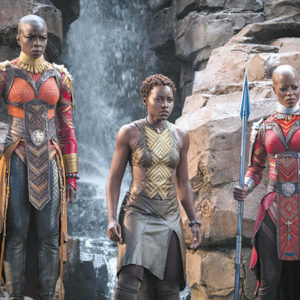 "Danai Gurira as Okoye, Lupita Nyong'o as Nakia and Florence Kasumba as Ayo give compelling performances in ""Black Panther."" (photo courtesy of Marvel Studios)"