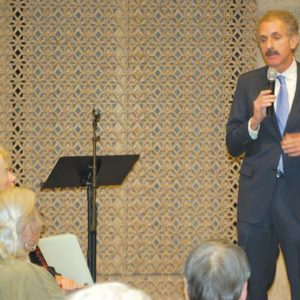 Feuer, pictured above at a town hall last month, has held multiple community meetings to discuss issues such as aging. (photo by Edwin Folven)