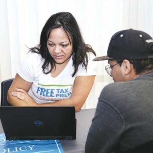 Residents may be eligible for earned income tax credits. Last year, more than 100,000 people received help through the program. (photo courtesy of the Youth Policy Institute)