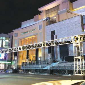 Workers are preparing Hollywood Boulevard for Sunday's Academy Awards. (photo by Luke Harold)