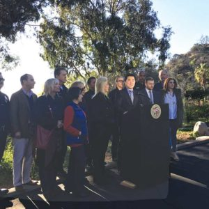 Councilman David Ryu, 4th District, held a press conference preceding Wednesday's City Council meeting, when the council approved the law. (photo courtesy of the 4th Council District Office)
