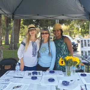 Greater Wilshire Neighborhood Council Sustainability Committee members Julie Stromberg (left), Cathy Roberts and Barbara Savage previously hosted a drought-tolerant garden tour in 2016. (photo courtesy of Julie Stromberg)