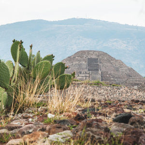 Teotihuacan was an incredibly complex city known for its pyramids and compounds. The image above is a view of the moon pyramid in the Mesoamerican city with the Cerro Gordo mountain in the distance. (photo by Jorge Pérez de Lara Elías, © INAH)