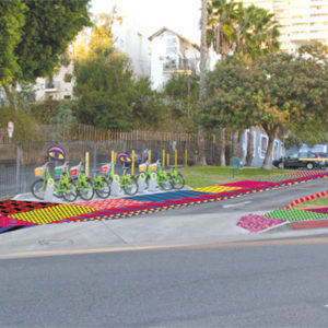 """Pattern Park"" creates a colorful landscape along Sunset Boulevard. (photo courtesy of the city of West Hollywood)"