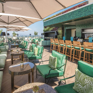 The JG Rooftop Restaurant and Lounge at the Waldorf Astoria Beverly Hills, above, is a sleek and colorful space offering spectacular views, creative cocktails and innovative snacks, shareable plates and main dishes. (photos by William Rust, Waldorf Astoria Beverly Hills)