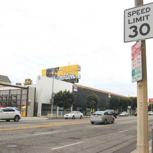 The Los Angeles Department of Transportation has reduced speed limits on some major commercial streets, including La Brea Avenue. (photo by Edwin Folven)