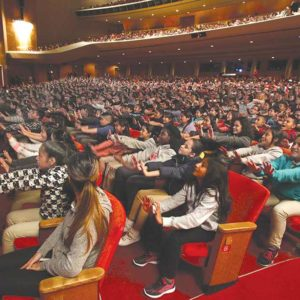 Students from over 200 schools in the county came together at the annual Blue Ribbon festival to watch performances and to dance at the Dorothy Chandler Pavilion. (photo by Lawrence Ho / Blue Ribbon)