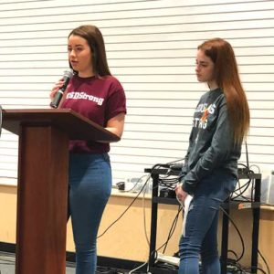 Mia Freeman (left) and Hayley Licata, juniors at Marjory Stoneman Douglas High School in Florida, traveled to L.A. to speak to students at Shalhevet and participate in the March for Our Lives in downtown. (photo by Luke Harold)