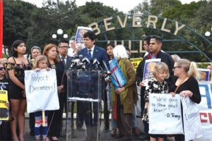 State Sen. Kevin de Leon (D-Los Angeles), who is also challenging U.S. Sen. Dianne Feinstein (D-Calif.) for her seat in this year's election, held a rally in opposition to the president and his policies on Monday in Beverly Hills. (photo courtesy of Kevin de Leon's office)