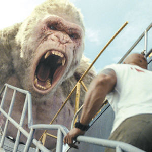 "George the albino ape shows his wild side in ""Rampage."" (photo courtesy of New Line Cinema)"
