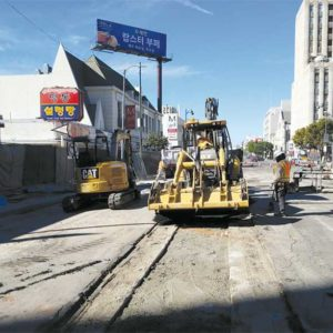 Work continues at multiple locations along Wilshire Boulevard for the Purple Line Extension subway project. (photo courtesy of Metro)
