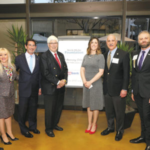 BHBA CEO Marc Staenberg joined Beverly Hills Bar Foundation President Linda Spiegel, BHBA Roxbury Park Pro Bono Legal Clinic co-founder Richard Kaplan, Beverly Hills Mayor Julian Gold, Beverly Hills Barristers President Elizabeth Hall Peterson, BHBA Roxbury Park Pro Bono Legal Clinic co-founder Chris Bradford and Beverly Hills Bar Foundation Vice President of Development Hany Haddad at the ceremony. (photo by Lee Salem)