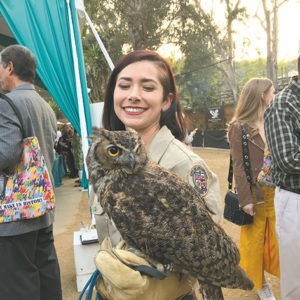 Zoo staff allowed close up viewing of some of the animals, including a great horned owl. (photo by Tim Posada)