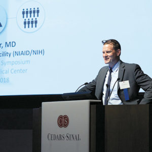Ebola survivor Dr. Ian Crozier discussed how the disease spread rapidly throughout Africa in 2014. (photo courtesy of Cedars-Sinai)