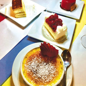 Desserts at Josette Bistro are as pretty as they are tasty. Try the crème brûlée, cheesecake with raspberries and mille-feuille made with layers of puff pastry and cream. (photo by Jill Weinlein)
