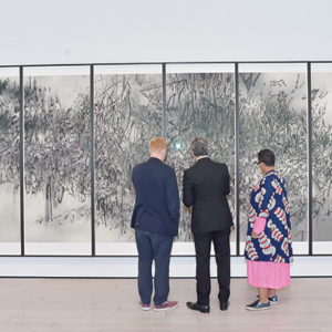 """Julie Mehretu's """"Epigraph, Damascus"""" was one of the 10 acquisitions the Los Angeles County Museum of Art received during the Collectors Committee weekend. (photo by Stefanie Keenan/Getty Images for LACMA)"""