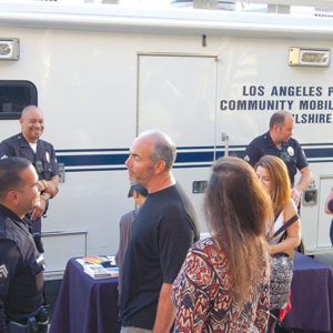 Senior Lead Officers Hebel Rodriguez (left), Perry Jones and Geoffrey Taff met with community members at Park La Brea on May 8 to discuss crime prevention and hear concerns. (photo by EdwinFolven)