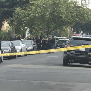 Police cordoned off a section of Vista Street on May 1 after a suspect shot a victim during an armed robbery. The victim is recovering. (photo by Peter Nichols)