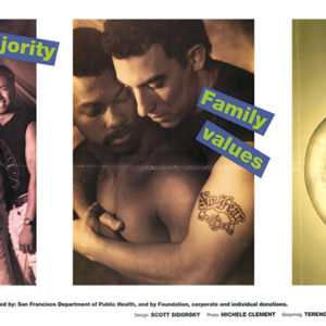 A safer sex announcement from the San Francisco AIDS Foundation is included in the new exhibit in West Hollywood. (photo courtesy of the ONE National Gay & Lesbian Archives at the USC Libraries)