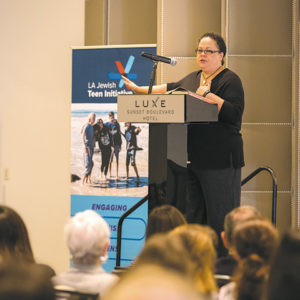 Former Stanford University Dean of Freshmen Julie Lythcott-Haims gave the keynote speech at the Jewish Federation's education conference. (photo courtesy of the Jewish Federation of Greater Los Angeles)