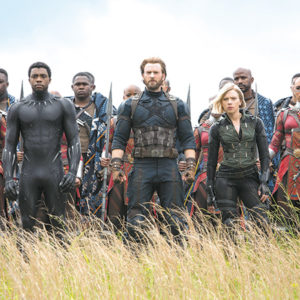 """Chadwick Boseman, Chris Evans, Scarlett Johansson and Sebastian Stan star in """"Avengers: Infinity War,"""" a new installment of the Marvel cinematic universe featuring a plethora of superheroes. (photo courtesy of Marvel Studios)"""