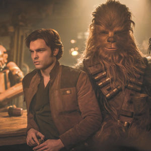 """Alden Ehrenreich stars as Han Solo and Joonas Suotamo takes the role of Chewie in """"Solo: A Star Wars Story."""" (photo courtesy of Lucasfilm)"""