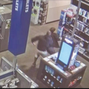 The assault at the Best Buy store was captured on security camera video. (photo courtesy of the LASD)