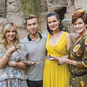 """From left to right, Sarah Michelle Gellar, Lance Bass, Pauley Perrette and Carolyn Hennesy met one of the zoo's reptilian residents at the 2015 Greater Los Angeles Zoo Association's """"Beastly Ball."""" (photo by Jamie Pham)"""