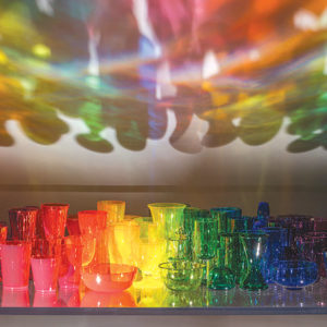 """Katherine Gray's """"A Rainbow Like You"""" showcases how the artist plays with light, shadow and color with her glasswork. (photo by Fredrik Nilsen, courtesy of the artist and Heller Gallery)"""