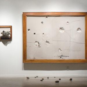 Artist Jordi Alcaraz bends, tears and punctures materials in unpredictable ways in his work. (photo courtesy of Jack Rutberg Fine Arts)