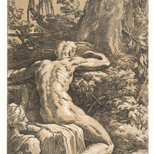 """Nude Man Seen from Behind (Narcissus)"" is one of the seldom-exhibited Renaissance woodcuts on display at LACMA. (photo courtesy Philadelphia Museum of Art)"