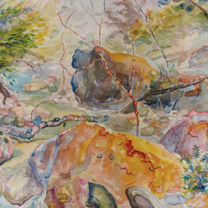 """""""Streaming"""" showcases artist Carole Garland's abstracted landscapes that she explores in her watercolors. (photo courtesy of TAG Gallery)"""