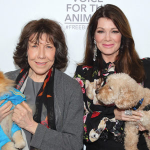 Actress Lily Tomlin (left) and television star Lisa Vanderpump posed with dogs on the red carpet of the Voice For Animals Foundation's fundraiser. (photo by Mathew Imaging)
