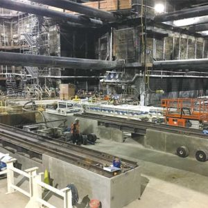 Crews built a conveyor belt system in the center of the Wilshire/La Brea Station to remove materials from the tunnels when the tunnel boring machines start digging this summer. (photo courtesy of Metro)