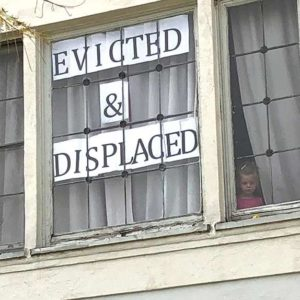 Residents on Hayworth Avenue in the Fairfax District held a protest over the multple Ellis Act evictions along the street in recent years. (photo by Luke Harold)