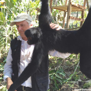 The spider monkey Pepe is one of the many animals rescued by Tim Phillips for Animal Defenders International. (photo courtesy of ADI)