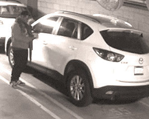 The suspect who stole a Mazda from an apartment building garage in the Miracle Mile was able to gain access because he found the keys in another vehicle that was left unlocked. (photo courtesy of the LAPD)