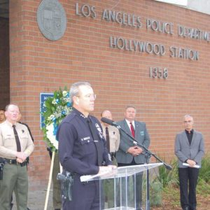 First Assistant Chief Michel Moore, who will become the next chief of police for the LAPD pending City Council approval, recently addressed officers from the Hollywood Division prior to a memorial bicycle ride that began at the police station. (photo by Edwin Folven)