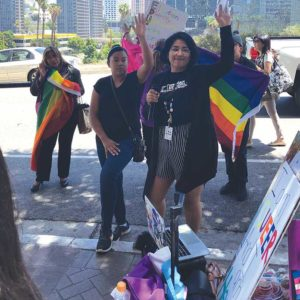 LAUSD students and members of the LA LGBT Center, Latino Equality Alliance, GSA Network and ONE Archives gathered to support the Board of Education's resolution to create more inclusive school environments for LGBTQ students. (photo courtesy of Krystal Torres-Covarrubias)