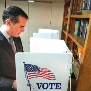 Los Angeles Mayor Eric Garcetti cast his ballot during yesterday's statewide primary election. (photo courtesy of the mayor's office)