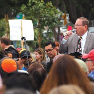 Los Angeles City Councilman Paul Koretz, 5th District, joined hundreds of protesters and a lineup of local officials to oppose President Trump's illegal immigration policy in Westwood on June 23. (photo by Luke Harold)