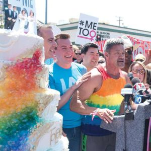 Los Angeles Mayor Eric Garcetti (from left), Christopher Street West President Estevan Montemayor, Los Angeles City Councilman David Ryu, West Hollywood City Councilwoman Lindsey Horvath and Los Angeles City Councilman Mitch O'Farrell were among the thousands in attendance at the Pride Parade. (photo courtesy of LA Pride)