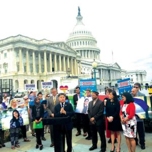 """Rep. Ted Lieu (D-Torrance) led a rally at the Capitol on June 20 in response to President Donald J. Trump's """"zero tolerance"""" border enforcement policy that had been separating families before the president signed an executive order yesterday stopping the tactic. (photo courtesy of Rep. Ted Lieu's office)"""