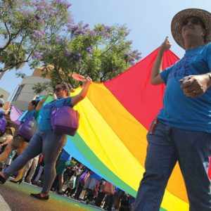 West Hollywood's Pride celebration, pictured in a previous year, will bring thousands of residents and visitors to the city this weekend. (photo by Joshua Barash)