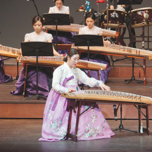 The Ilpa Gayageum Ensemble is a group of professional performers who play the gayageum, a zither-like string instrument. (photo courtesy of KCCLA)