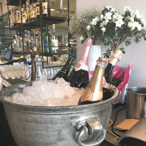 A large bucket of Champagne on ice greets bruch-goers on the weekends at Nerano. (photo by Jill Weinlein)