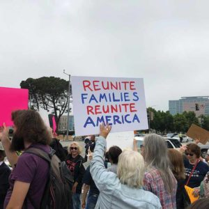 Thousands of protesters throughout the Los Angeles area have called for separated families to be reunited. (photo by Luke Harold)