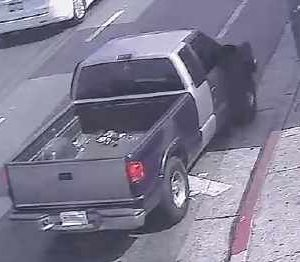 A security camera captured a photograph of the suspects' getaway vehicle. Authorities hope it will lead to their arrests. (photo courtesy of the LAPD)