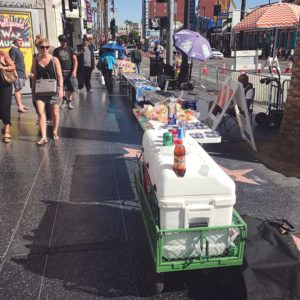 Bulky items such as vending carts and tables located along Hollywood Boulevard are now subject to confiscation by the city. (photo courtesy of Kerry Morrison)